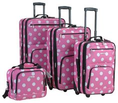 Rockland Luggage Dots 4 Piece Luggage Set, Pink Dots, One Size upright, tote Skate wheels Full lining Expandable Internal handle