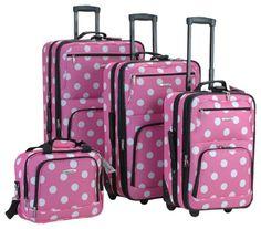 Rockland Luggage Dots 4 Piece Luggage Set $95.99