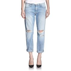 Current/Elliott The Distressed Fling Slim-Fit Boyfriend Jeans ($91) ❤ liked on Polyvore featuring jeans, apparel & accessories, point break destroy, slim fit boyfriend jeans, destroyed boyfriend jeans, relaxed boyfriend jeans, ripped blue jeans and distressed jeans
