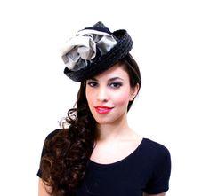Black Raffia Brimmed Side Hat ...