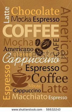 stock photo : Wallpaper for decorate coffee or coffee shop. Words and pictures on a brown background