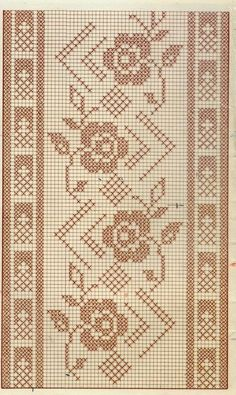 57 Ideas Knitting Lace Border Cross Stitch For 2019 Filet Crochet Charts, Crochet Stitches Patterns, Doily Patterns, Embroidery Patterns, Cross Stitch Borders, Cross Stitch Designs, Cross Stitch Patterns, Crochet Table Runner, Crochet Tablecloth