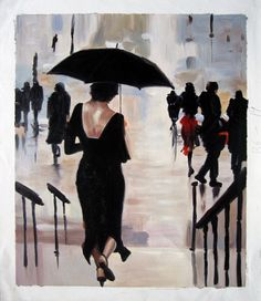 20 x 24 inches - Figurative - Umbrella - - oil on canvas painting art - Gift idea by ChiangPaintingArt on Etsy Oil Painting On Canvas, Watercolor Paintings, Canvas Art, Painting Art, Umbrella Painting, Selling On Pinterest, Wooden Bar, Illustrations, City Life