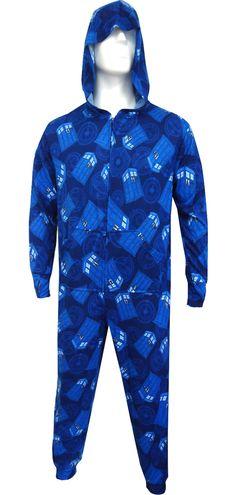 WebUndies.com Dr. Who Blue TARDIS Hooded Onesie Lounger Pajama