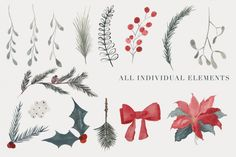 Christmas Watercolor Clipart  By The Autumn Rabbit