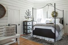 From Fixer Upper. Love the gray and black against the white paint.