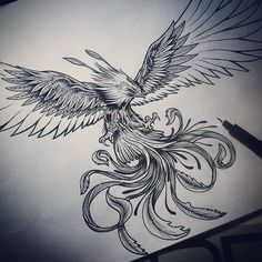 Multiple tails like this maybe on the owl holding the compass or diving through it. Fire Tattoo, Raven Tattoo, Tattoo On, Chest Tattoo, Badass Tattoos, Body Art Tattoos, Sleeve Tattoos, Tattoos For Guys, Sketch Tattoo Design