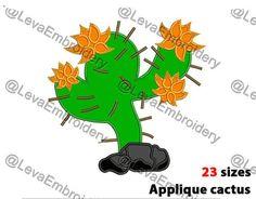 Cactus Applique Design. Cactus machine embroidery design. 21