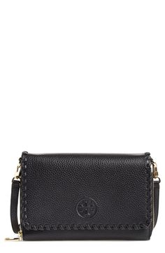 This Tory Burch fold-over wallet has just enough space to keep your smartphone and other essentials close at hand with an optional crossbody strap for hands-free convenience.