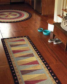 Pinwheel Hooked Wool Rug -- Runner