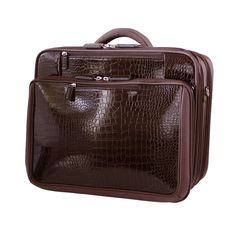 Brown Croco Roller - Rolling Women's Laptop Bags, Rolling Luggage ...