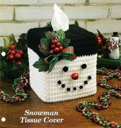 Snowman Tissue Box Cover pattern by Rilla Edwards Snowman tissue box cover. Christmas Items, Christmas Projects, Christmas Crafts, Christmas Candle, Crochet Christmas Decorations, Christmas Crochet Patterns, Tissue Box Covers, Tissue Boxes, Plastic Canvas Crafts