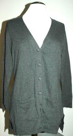 Charter Club W's Classic Gray Knit Long Cardigan Sweater Size Large $60.00 NWT #CharterClub #Cardigan