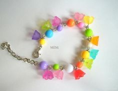 Colorful flower acrylic beads bracelet made by Lydia Mozolova from LC.Pandahall.com