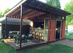 Amazing Outdoor Bar Shed For Dream Backyard Bar More 43 Backyard Tiki Bar Shed. Backyard Storage Sheds, Backyard Sheds, Outdoor Sheds, Outdoor Bars, Outdoor Kitchen Bars, Backyard Chickens, Outdoor Storage, Backyard Landscaping, Indoor Outdoor