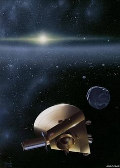 New Horizons: Outbound For Jupiter Flyby KBO: Artist's impression of the New Horizons spacecraft meeting up with a Kuiper Belt object.