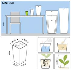 MINI-CUBI and MAXI-CUBI with irrigation system: less frequent watering and better plant growth! Shops, Plant Growth, Cool Plants, Irrigation, High Gloss, Planters, Floor Plans, Mini, Design