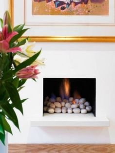 25 Fireplace Decorating Ideas with Gas Logs, Electric Logs, and Glass Rocks Gas Log Fireplace Insert, Candles In Fireplace, Fireplace Built Ins, Concrete Fireplace, Faux Fireplace, Fireplace Inserts, Modern Fireplace, Fireplace Design, Fireplace Ideas