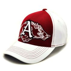 NCAA Arkansas Razorbacks Men's Mixer 1 Fit Cap (White, One Size) by Top of the World. $17.99. Wool One-Fit Hat. Flat Stitch Embroidered Secondary Back Logo. Officially Licensed Collegiate Product. Crisp and Clean! This cap features a 3D embroidered Arkansas logo on top of an oversized flat stitch secondary Arkansas logo. The front is Cardinal. The back and bill are white with contrasting stitching.