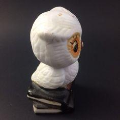 Vtg Porcelain Owl Figurine Kitsch Tiny Books Weather Owl White Big Eyed Orange