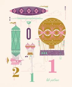 This is just a tiny bit vintage Small Word.  Awesome colors.  And makes me want a hot air balloon room.