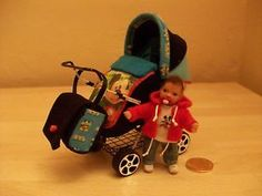 b'ful ooak baby Mickey + rear facing buggy/pram *mickey mouse* dolls house 1/12