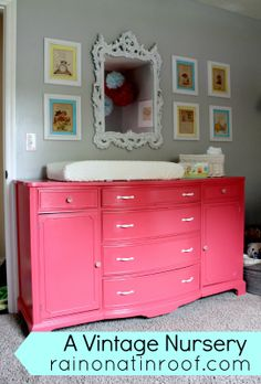 pink salmon baby bedding - this is a pretty cute set up! I would probably go do a lighter shade on the dresser though