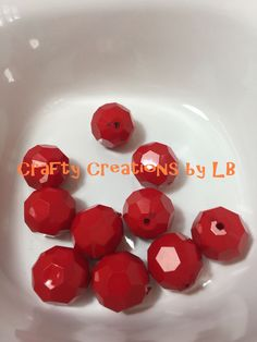 Ten(10) 20mm red hexagon bubblegum/chunky beads by CraftyCreationsByLB on Etsy