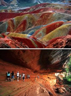 """Danxia Landform (China)  This unique geological phenomenon, known as a 'Danxia Landform', can be seen in several places in China. This example is located in Zhangye, Gansu Province. Danxia, which means """"rosy cloud"""", is a special landform formed from reddish sandstone that has been eroded over time into a series of mountains surrounded by curvaceous cliffs and many unusual rock formations. (Link)"""
