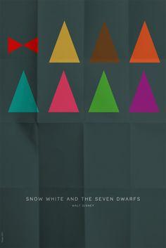 minimal poster snow white and the seven dwarfs Disney Minimalist, Minimalist Poster, Minimalist Art, Disney Movie Posters, Disney Films, Image Cinema, Disney Quilt, Disney Silhouettes, Minimal Movie Posters