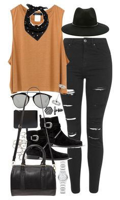 """""""Outfit for a concert in autumn"""" by ferned ❤ liked on Polyvore featuring Topshop, Forever 21, AllSaints, Comme des Garçons, Christian Dior, Burberry, Yves Saint Laurent, Simply Vera, women's clothing and women"""