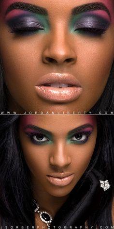 Make up pele negra. makeup for dark brown skin. Flawless Makeup, Love Makeup, Makeup Art, Makeup Tips, Beauty Makeup, Makeup Looks, Hair Makeup, Hair Beauty, Purple Makeup