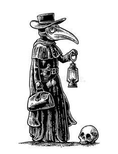 Plague, doctor with bird mask,suitcase, lantern, garlic and hat. Engraving. Photo about medicine, engraving, hood, clothing, death, masquerade, doctor, help, medical - 83992637
