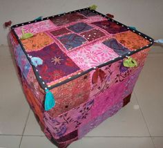 HANDMADE CUBE SEATING POUF COVER FOOT STOOL BOHEMIAN PATCHWORK OTTOMAN UNFILLED #Handmade #Traditional