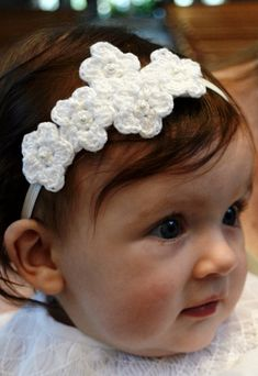 Crochet Flower Headband For a Baby Girl by piccolobambino on Etsy, $13.00