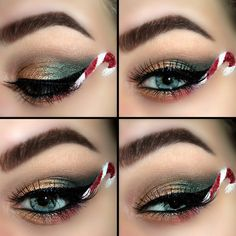 Let your eyes do all the talking this holiday with awesome candy cane eye art. A showstopping addition to your festive makeup repertoire.