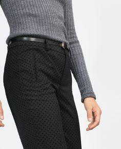 PANTALÓN CHINO CON CINTURÓN - Ver todo - Pantalones - MUJER   ZARA España
