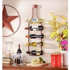 Barh tLerwich Red Metal Hanging Wine Rack
