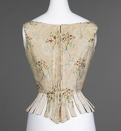 Corset-Third quarter of the 18th century, American, silk linen, reed leather. length at CB 16 7/8""