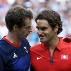 Murray & Federer talk at net after playing for the Gold medal, London 2012 Olympics