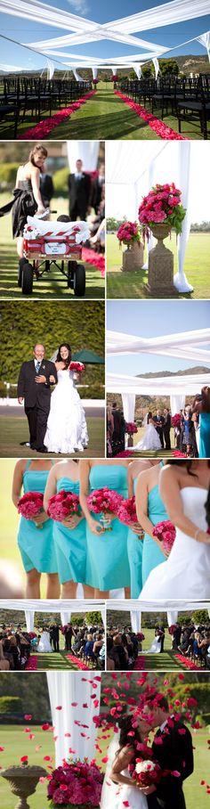 Fuchsia, Turquoise, Black and White Summer Wedding at the Santa Barbara Polo Fields - Trisha and Ryan - Junebug's Wedding Blog - Celebrating the Best in Wedding Style, Fashion, Photography and Decor