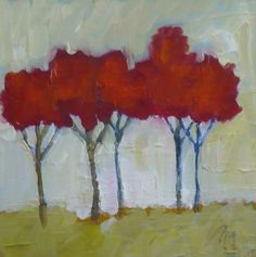 original oil painting Red Trees contemporary modern art by pamelam, $30.00