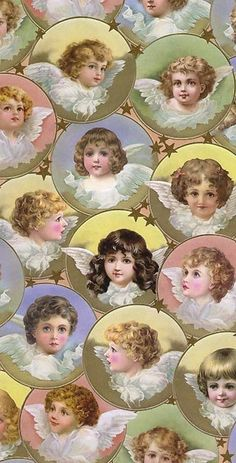 Pastel Victorian angels Christmas crafting paper made in Germany by FrancesCollins