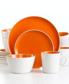 white and orange plates