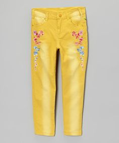 Look at this #zulilyfind! Yellow Bird Jeans - Toddler & Girls by Rock'n Style #zulilyfinds