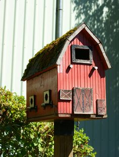 Barn bird house I would also put a drawer handle size horseshoe above door face up to keep the luck:)