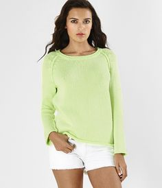 Coated Neon Pullover Sweater, Michael Stars