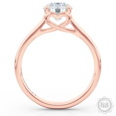 """Free shipping to USA. Delicate, classic Solitaire Engagement Ring design in our signature """"Hearts"""". Round GIA certified Diamond. Custom Jewelry Boca Raton, FL."""