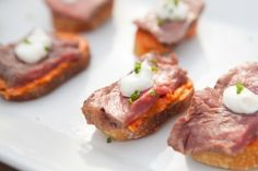 Omaha Steaks   Grilled New York Strip Crostinis Recipe   SAVEUR Summer BBQ 2013 Omaha Steaks, How To Grill Steak, Summer Bbq, Baked Potato, Grilling, Appetizers, Favorite Recipes, Beef, Ethnic Recipes