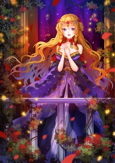 Anime picture 				654x928 with  		original 		vetina 		long hair 		single 		tall image 		looking at viewer 		blue eyes 		open mouth 		orange hair 		braid (braids) 		girl 		dress 		hair ornament 		plant (plants) 		petals